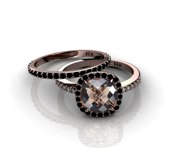 cushion cut 14k rose gold ring smoky quartz black diamonds halo champagne diamonds engagement. Black Bedroom Furniture Sets. Home Design Ideas