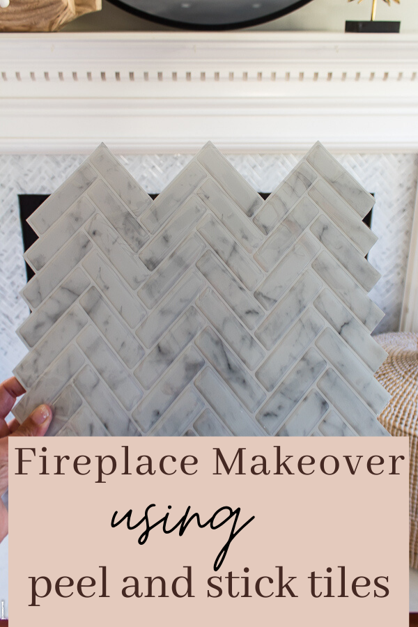 Fireplace Makeover Using Peel And Stick Tile.  An easy and affordable way to update your fireplace