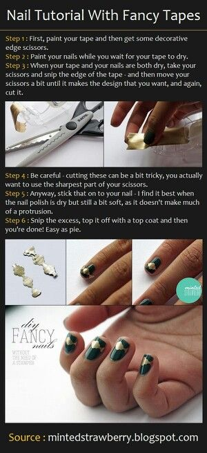 Nail tutorial with fancy tapes - manicure con cinta adhesiva simple y fácil