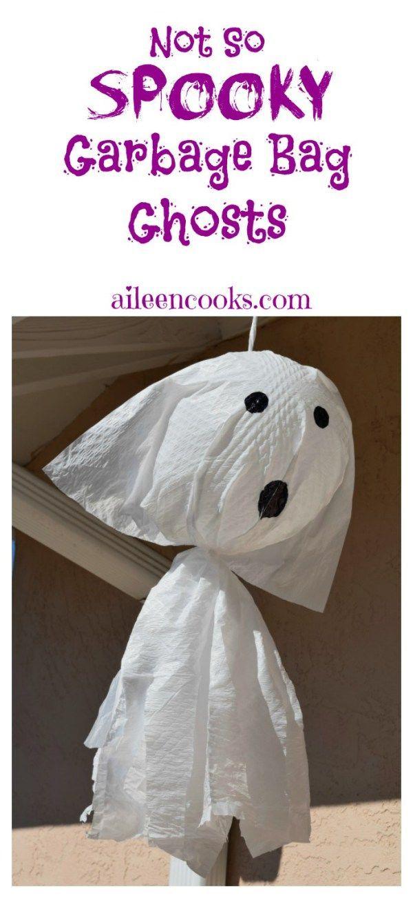 Not So Scary Garbage Bag Ghosts DIY Halloween, Halloween fun and - not so scary halloween decorations