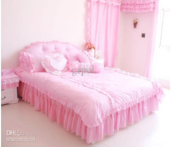 Cheap Linen Best Pink Princess Ruffle Bedding Comforter Set Queen