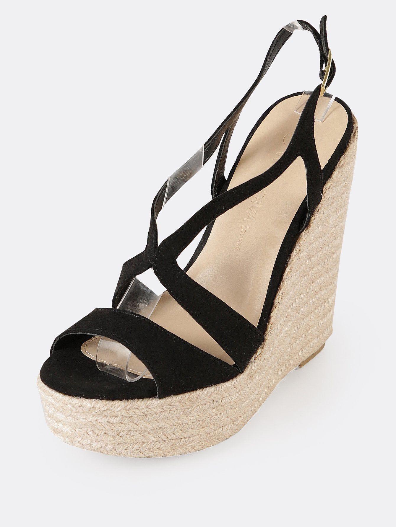 c32629764df Elegant Peep Toe Platform Strappy Black High Heel Espadrille Espadrille  Platform Strappy Wedge Sandal