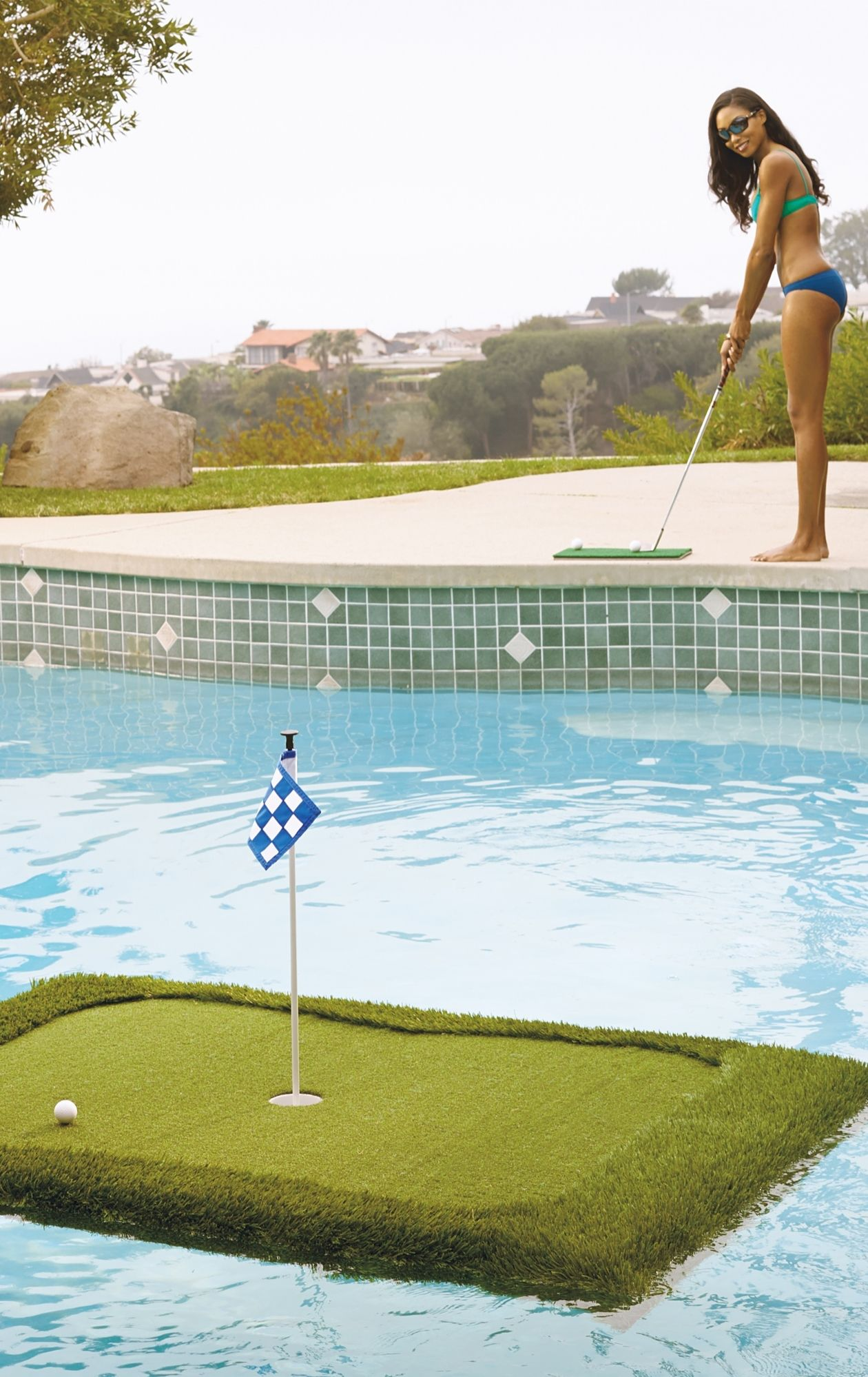 practice lofting the perfect pitch over a water hazard with our