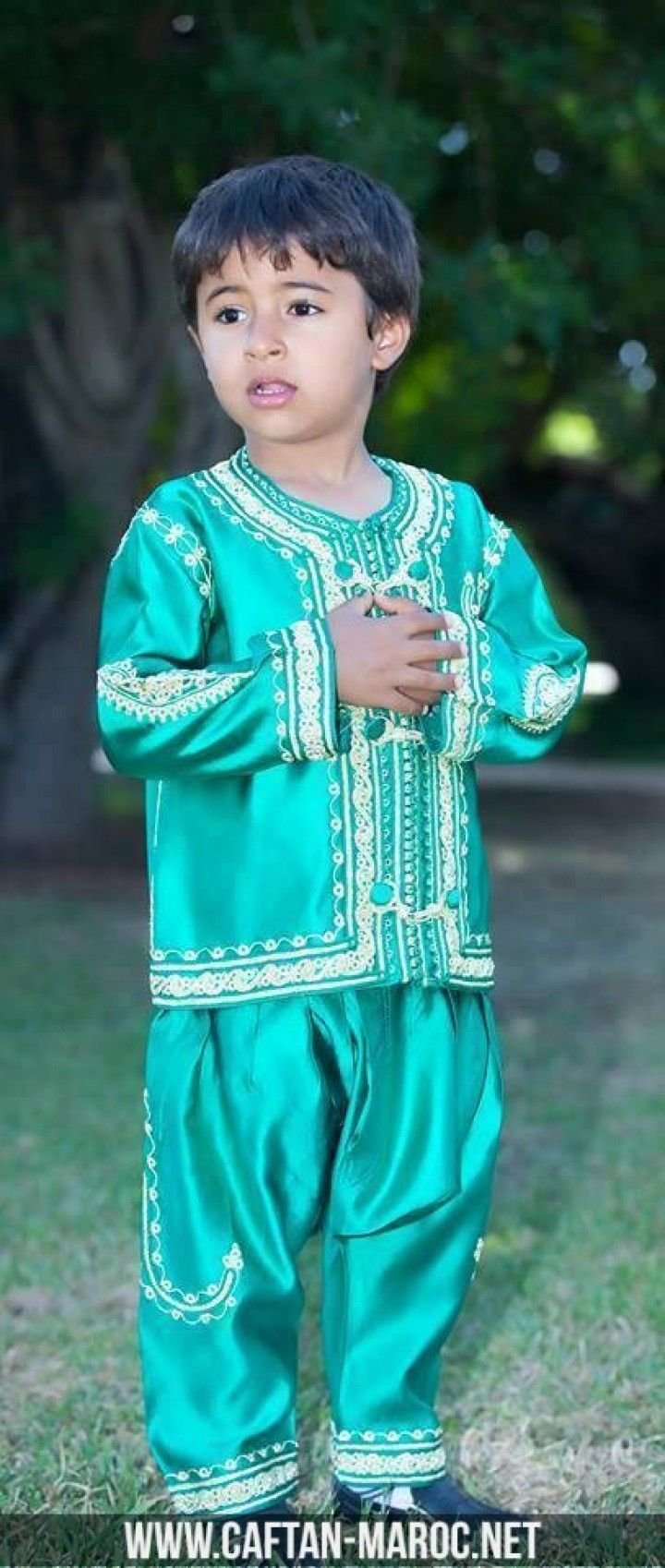 Jabador Enfant Deux Pieces En Satin Vert Kids Fashion Moroccan Fashion Moroccan Dress