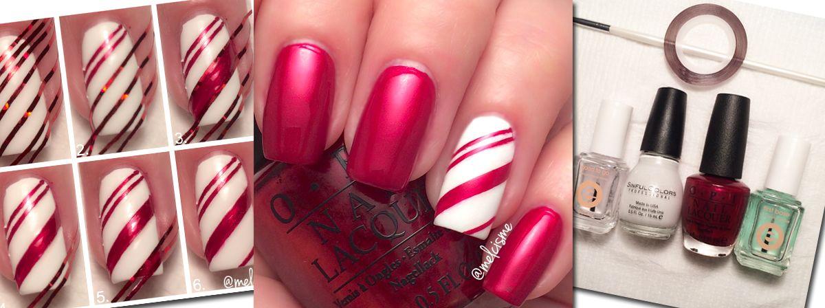 Nail Art Tutorial: Candy Cane Nails - Nail Art Tutorial: Candy Cane Nails Nails Pinterest Candy