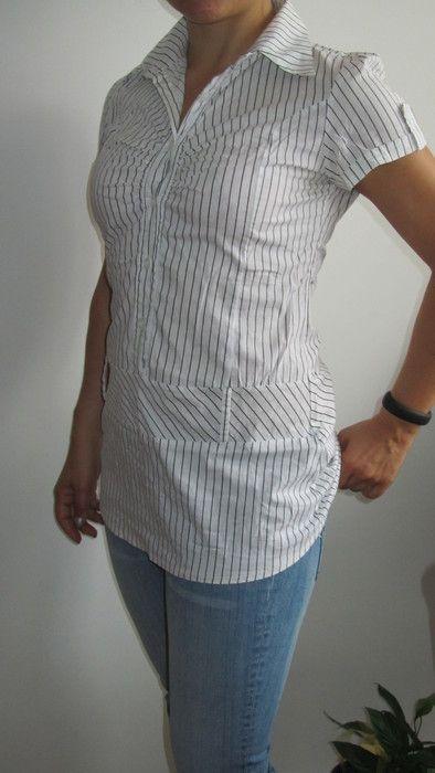 Weißes Blusenkleid (mini) mit Nadelstreifen