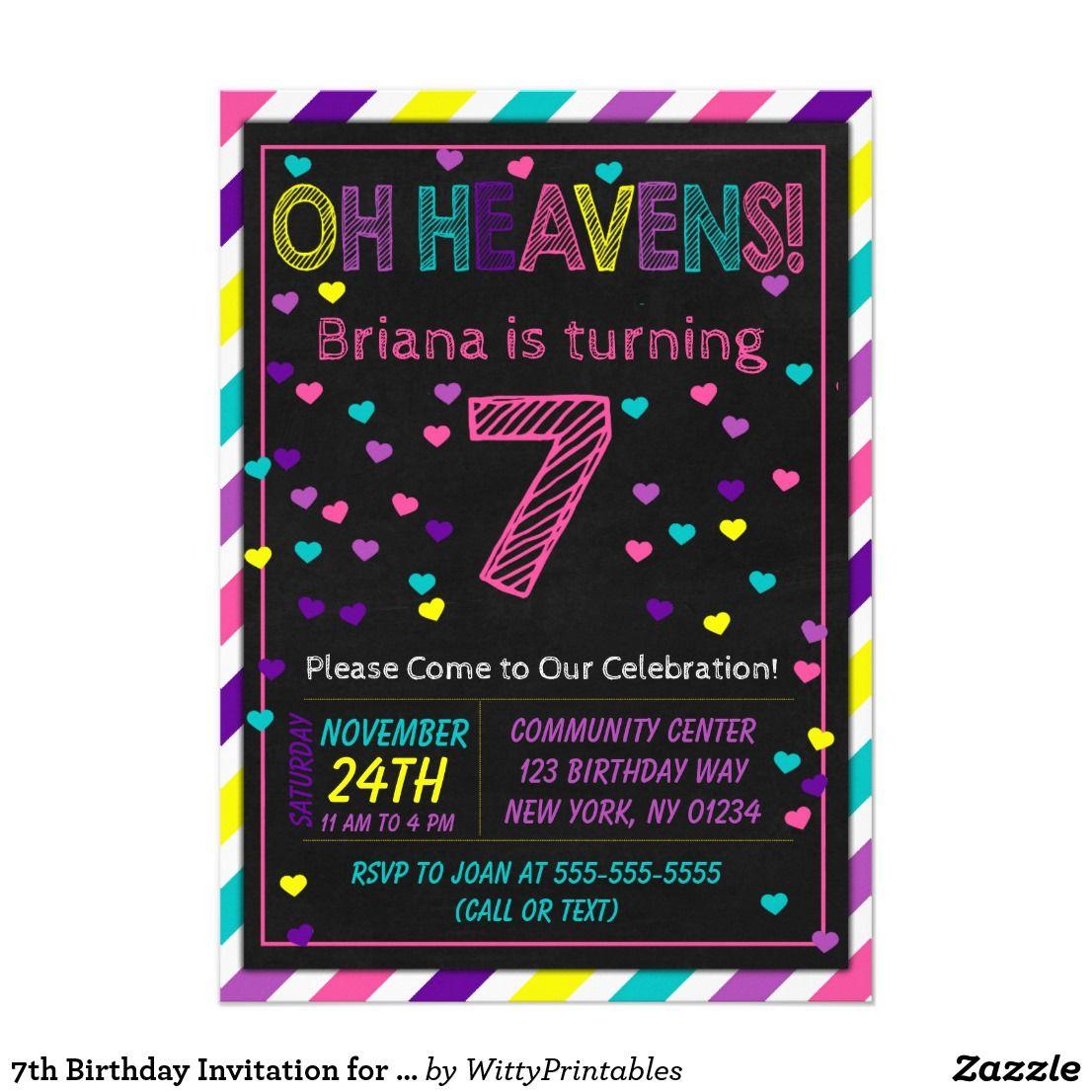 7th birthday invitation for a girls