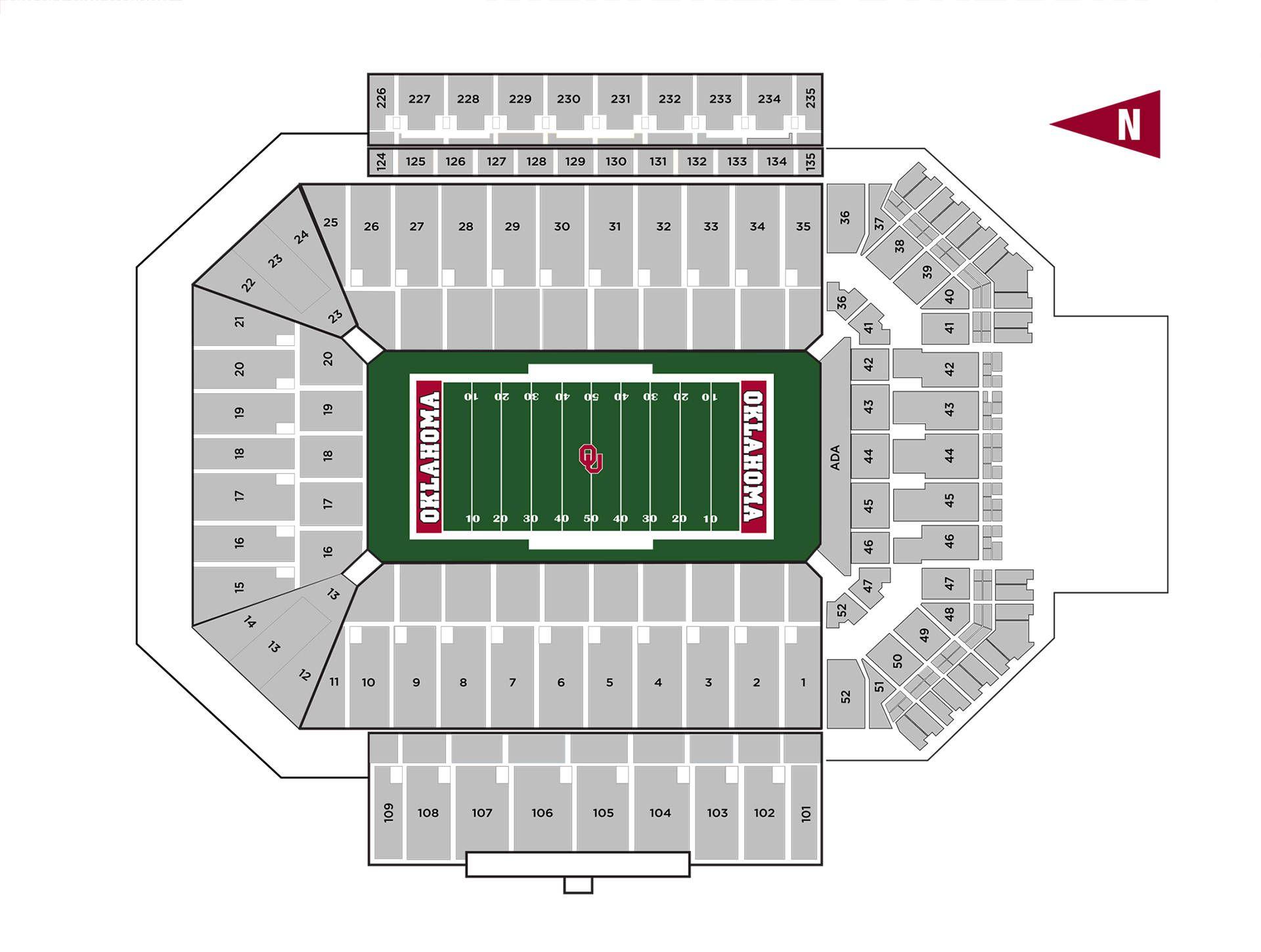 Oklahoma Sooner Football Stadium Seating Chart In 2020 Oklahoma Sooners Football Football Ticket Sooner Football