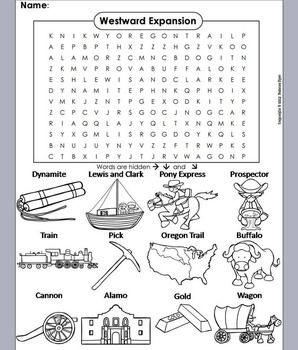 Westward Expansion Word Search Coloring Sheet Westward