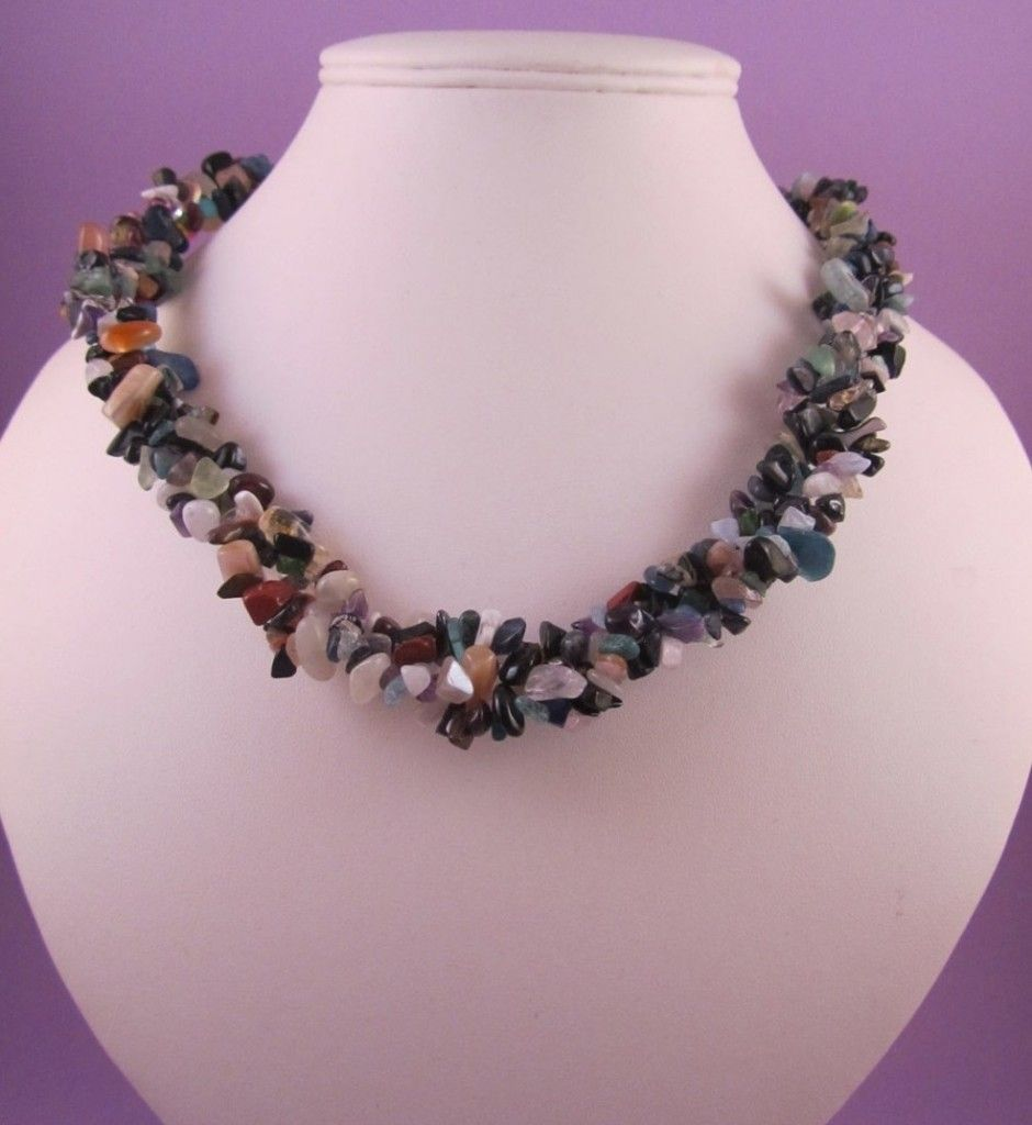 Multi Colour Dark Gemstone Chip Chunky Necklace with Antique Bronze Features - Crafty Magpie