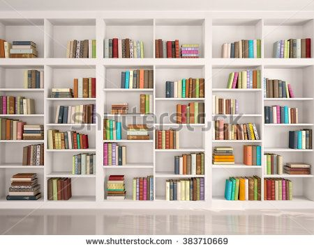 3d illustration of White bookshelves with various colorful books ...