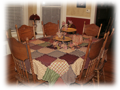 Primitive Ragged Homespun Patchwork Tablecloth 1 Sew