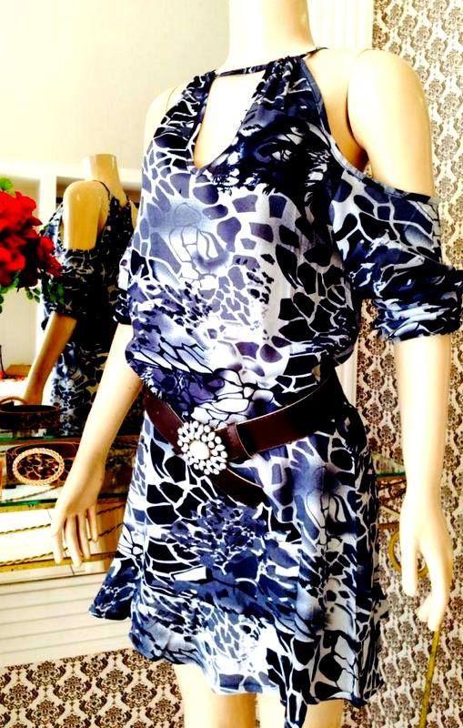 Vestido Estampado Azul / jahsaude