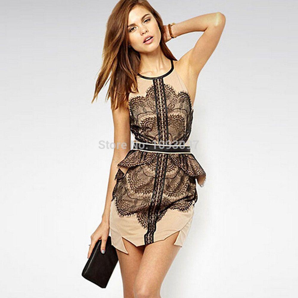 Ruffle round neck sleeveless lace women dress amazing dresses