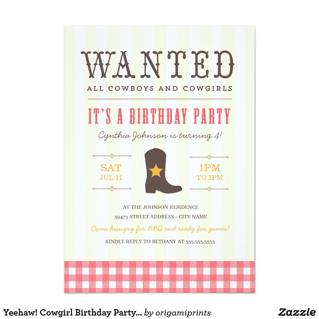Yeehaw! Cowgirl Birthday Party Invitation | Mom and Kids Stuffs and ...
