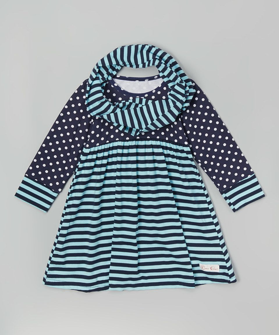 Love this Aqua & Navy Dress & Infinity Scarf - Infant, Toddler & Girls by Creative Cuties on #zulily! #zulilyfinds