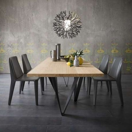Table Design Extensible Avec Pied En Metal Wave Masa Mobilya
