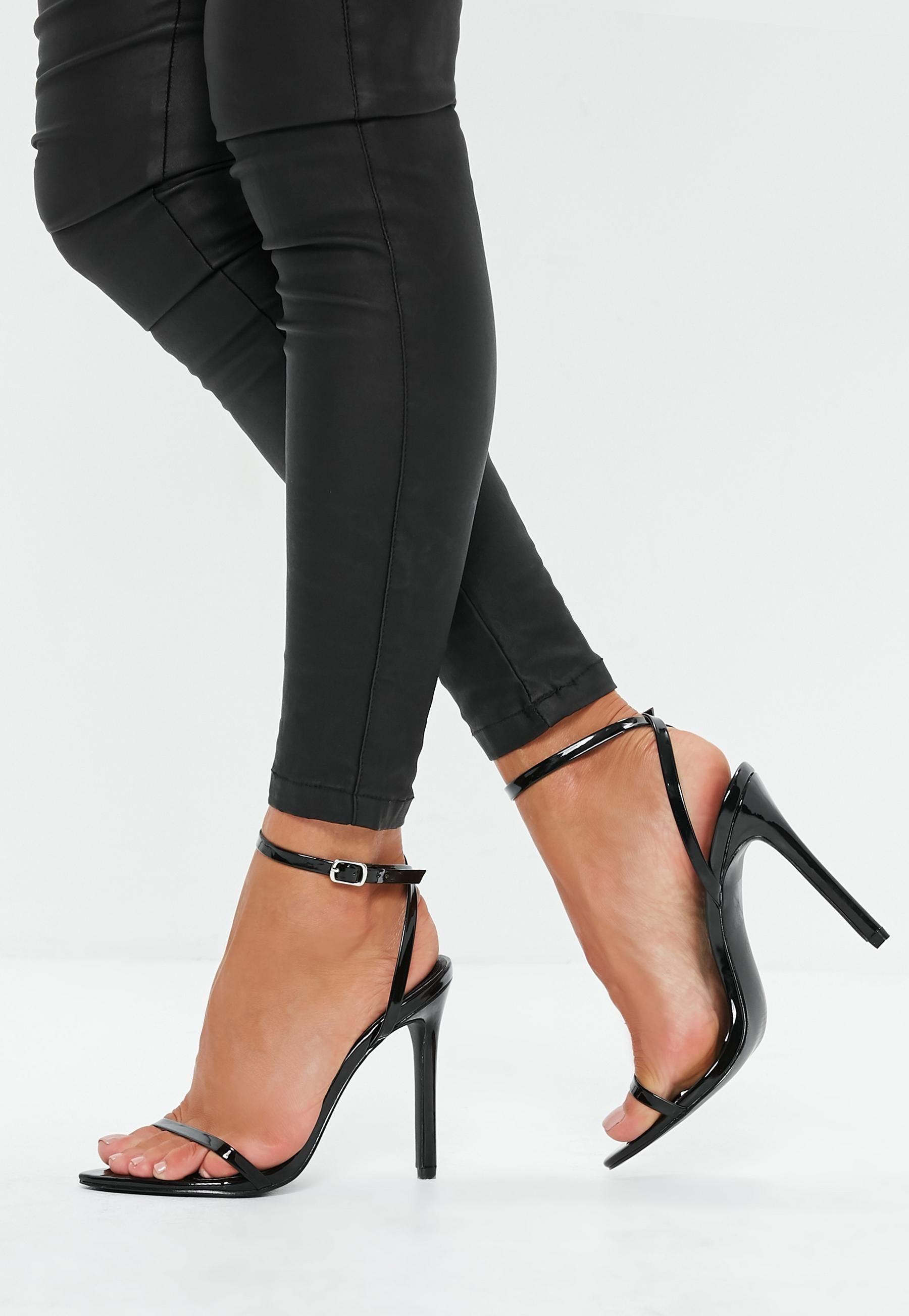 087317f29b8d Missguided Black Pointed Toe Barely There Patent Heels in 2019 ...