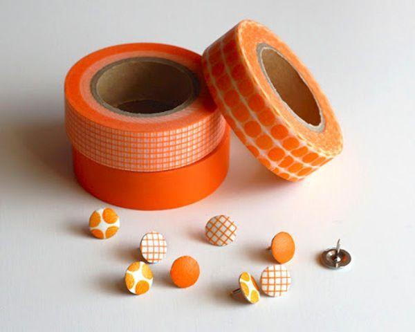 Cover plain old boring thumbtacks with washi tape