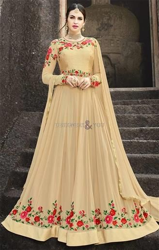 Adorable Champagne Cream Embroidered Floor Length Gown Dress   Gown ...