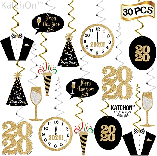 New Years Eve Party Supplies 2019 Pack of 33 Happy New Year Hanging Swirls New Year Party Decorations 2019 Great for New Years Party Decoration 2019 Hollywood Oscar NYE Decorations 2019