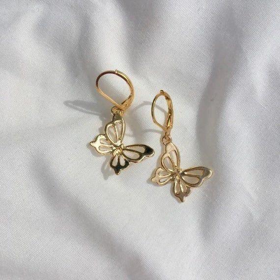 butterfly gold huggie earrings // minimalist, summer, cute ...