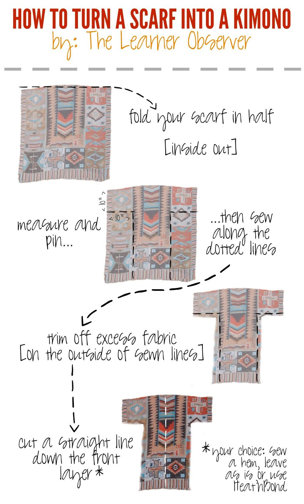 Make Your Own Kimono From A Scarf Scarf Week The Learner Observer Sewing Projects For Beginners Sewing Tutorials Beginner Sewing Projects Easy
