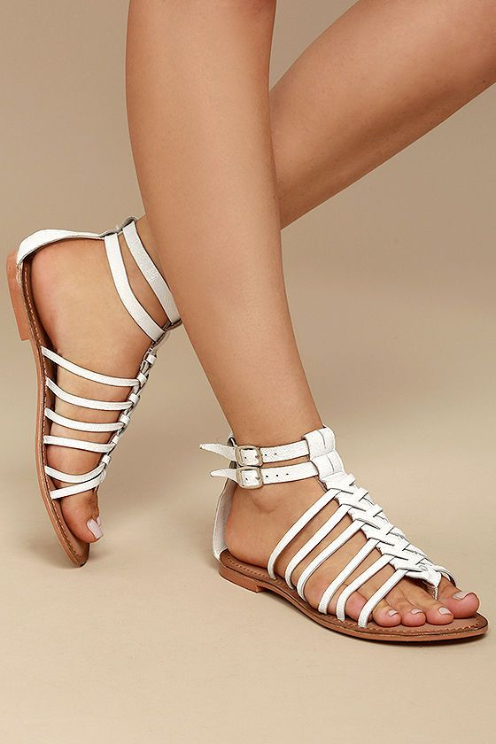 2c1b1f58685 Naughty Monkey Boardwalk White Leather Gladiator Sandals