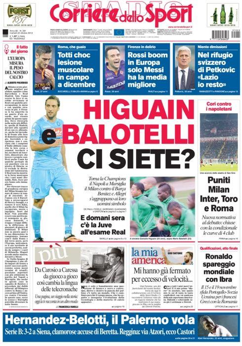 """#PRIMAPAGINA #Higuain e #Balotelli ci siete? #Totti choc lesione muscolare in campo a dicembre. #Rossi boom in #Europa solo #Messi ha la media migliore. Nel rifugio svizzero di #Petkovic """"#Lazio io resisto""""."""