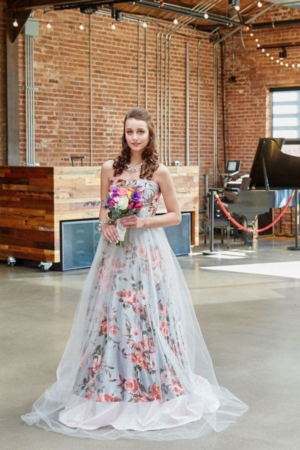 A Pink Floral Print Wedding Dress With Tulle Overlay