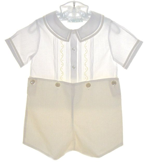 d1918c1824dba NEW Feltman Brothers Pale Yellow Button on Shorts Set with Pintucks and  Embroidery $60.00