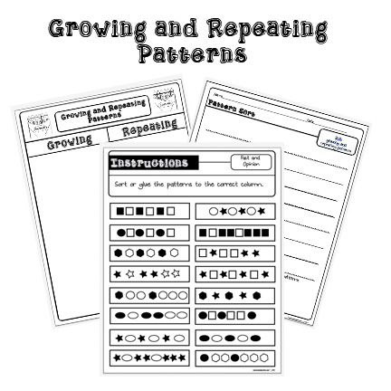 repeating and growing pattern sort and task cards lesson plans printables math patterns. Black Bedroom Furniture Sets. Home Design Ideas