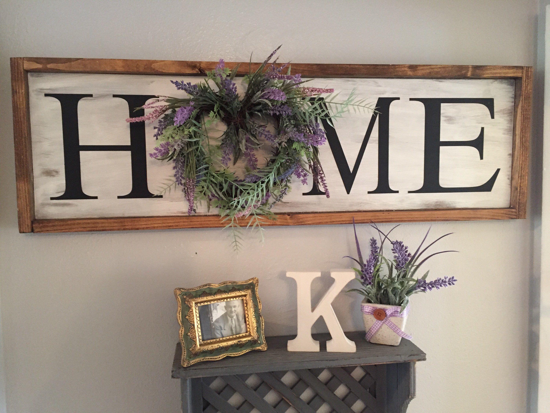 Farmhouse home sign with wreath home sign farmhouse
