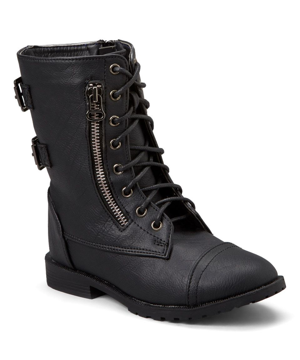 Blue Berry Black Best Lace-Up Boot by Blue Berry #zulily #zulilyfinds