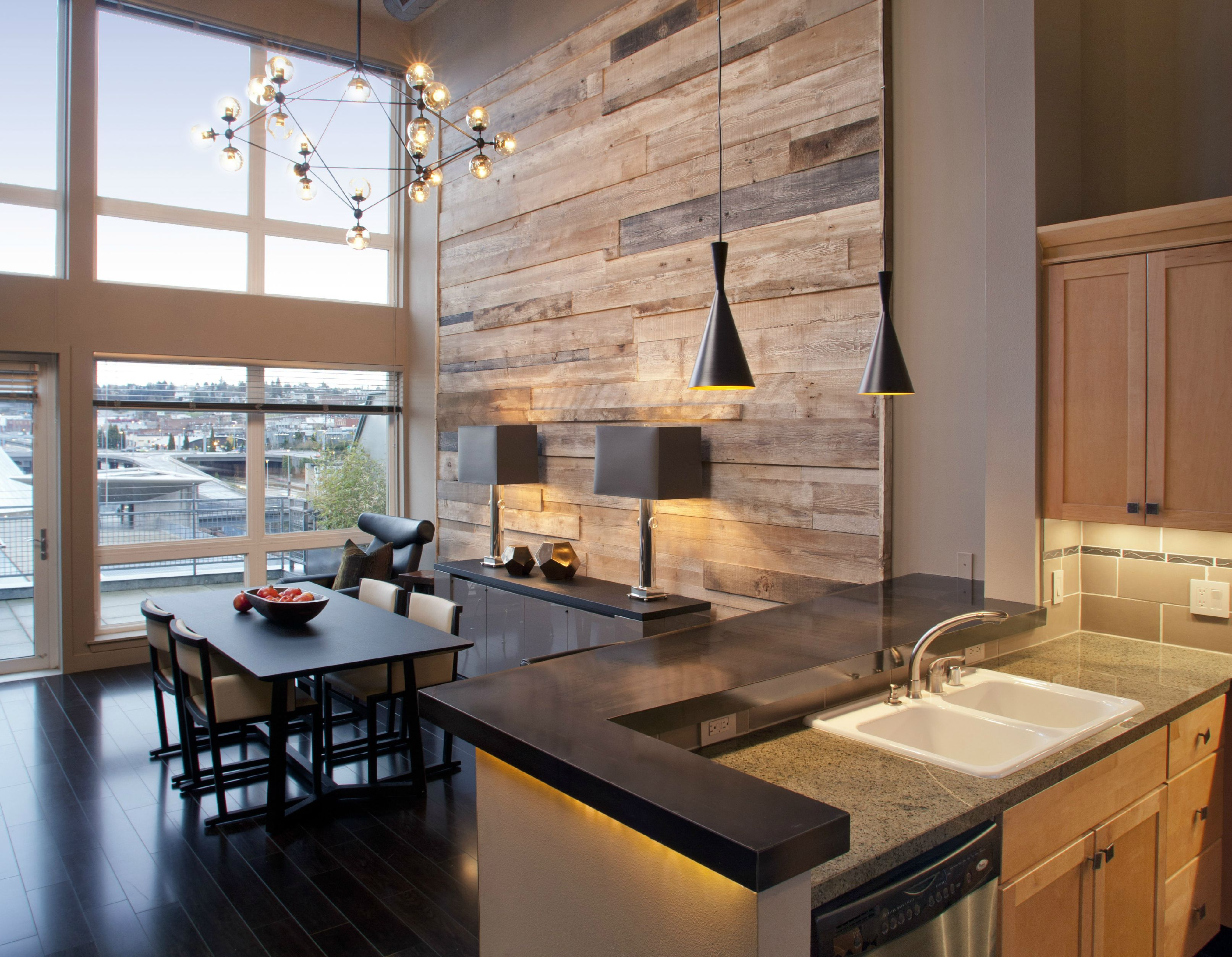 Tacoma Loft Project: Reclaimed wood wall, industrial elements ...