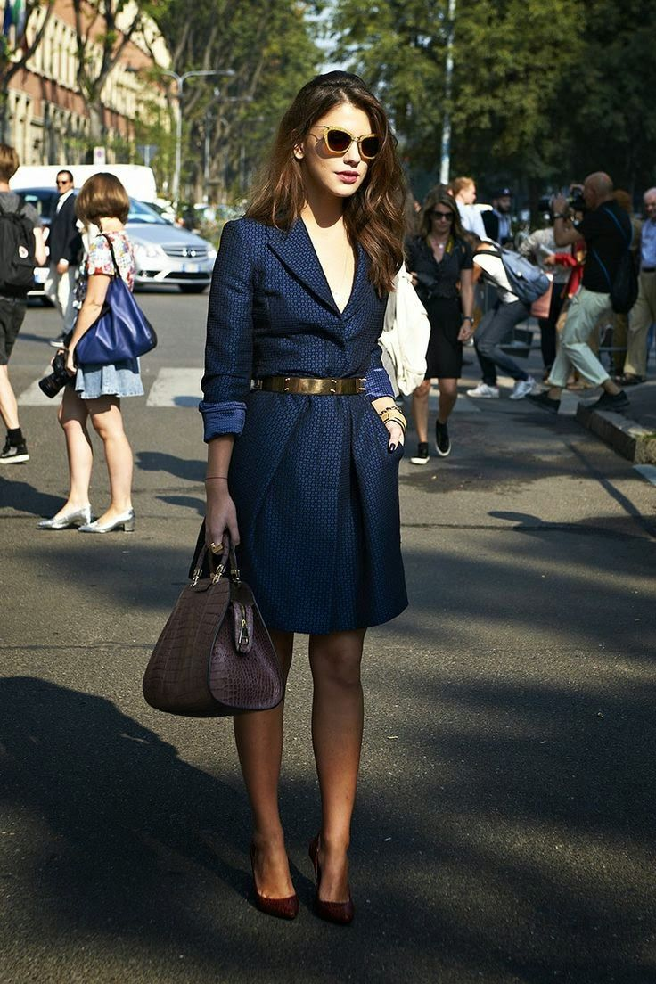 Gorgeous Navy Blue Coat With Gold Belt Leather Handbag And Lovely Pumps