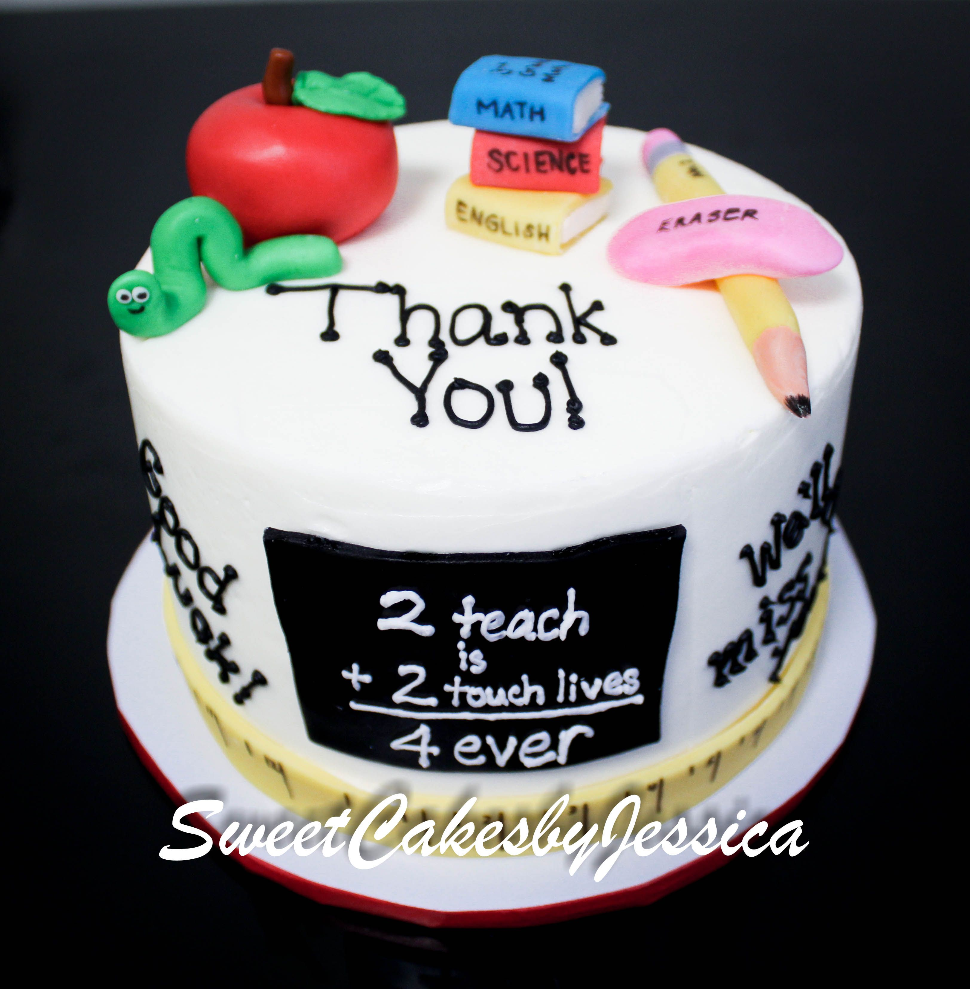 Outstanding Teacher Cake Cakes Cupcakes For Teachers Teacher Birthday Funny Birthday Cards Online Sheoxdamsfinfo