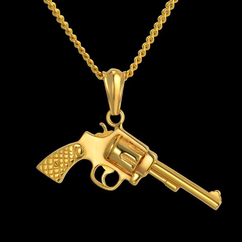 European style hip hop chain revolver gun pendant necklace men european style hip hop chain revolver gun pendant necklace men black gold color stainless steel vintage aloadofball Image collections