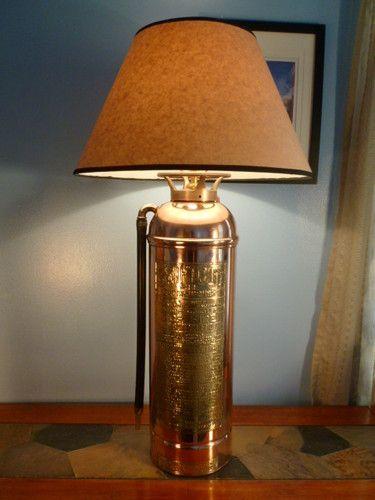 Vintage Swiftout Copper Brass Fire Extinguisher Lamp w ...
