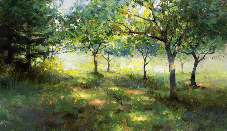 Mark Boedges Apple Orchard 12x20 Oil On Panel Landscape Paintings Plein Air Landscape Nature Paintings