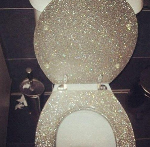 Toilet  White Glitter Seat bathroom ideas for spa Pinterest