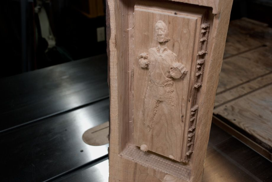 I carved this replica of Han Solo frozen in carbonite ...