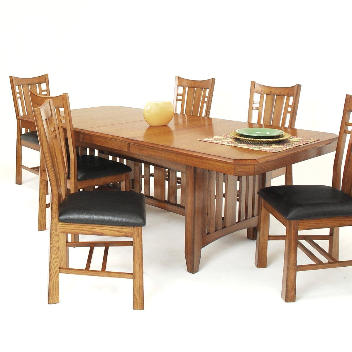 Gs Furniture Pasadena Solid Oak Top Trestle Table Dining Set With