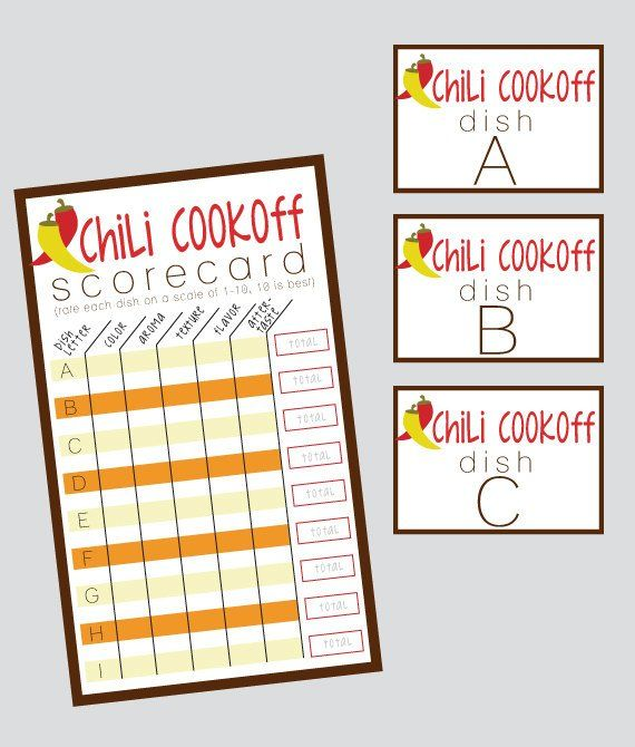 Group Chili Cookoff Sheet - INSTANT DOWNLOAD in 2019 | Products ...