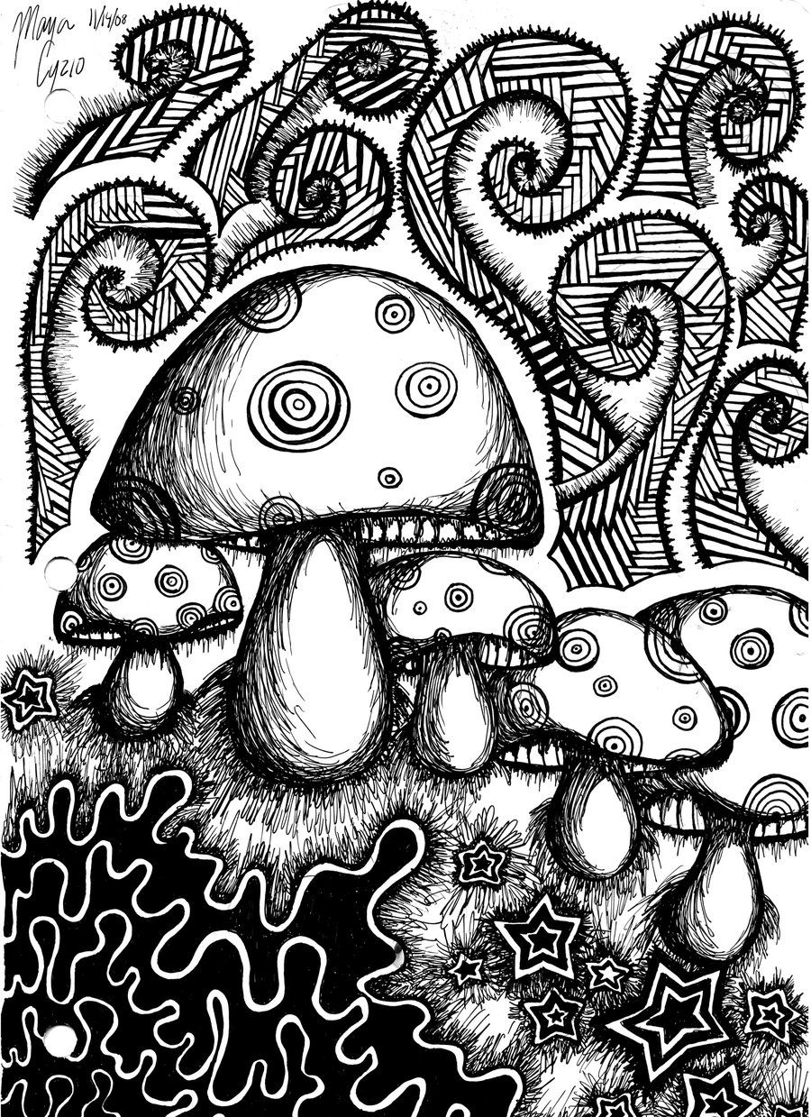 psychedelic mushroom coloring pages printable psychedelic coloring - Trippy Coloring Book
