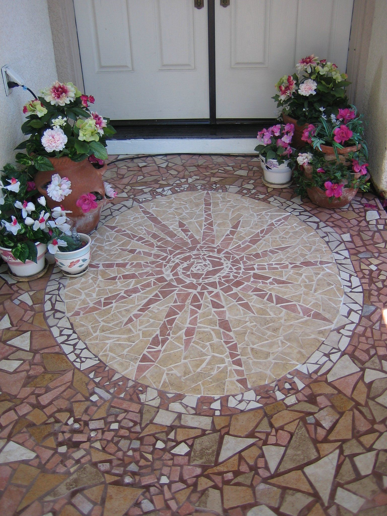 Beautiful Porch Mosaic From Leftover Tile