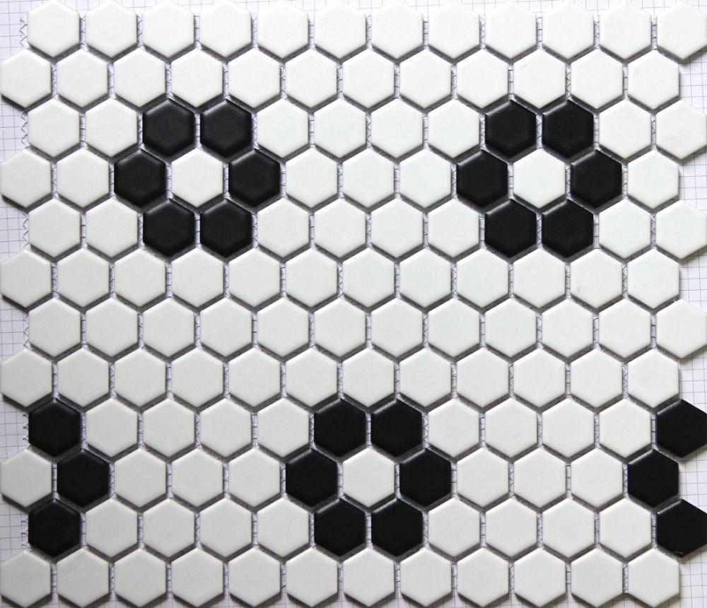 Pas Cher Classique Blanc Noir Mixte Hexagone Motif De Fleurs En