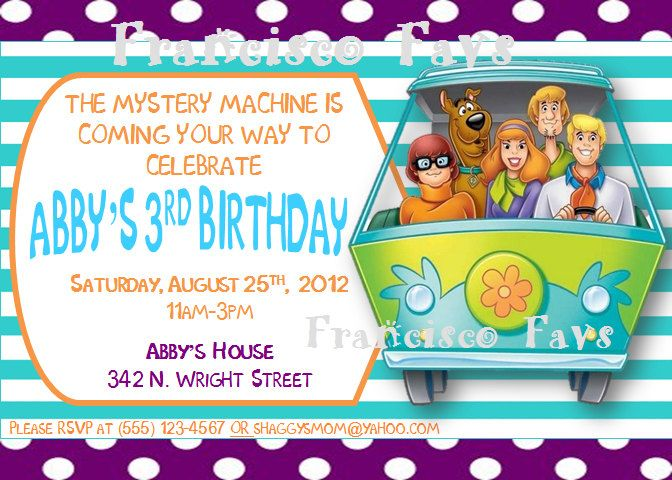 SCOOBY DOO Girl Birthday Party Invitation - DIY (Digital Copy - invitation wording for mystery party