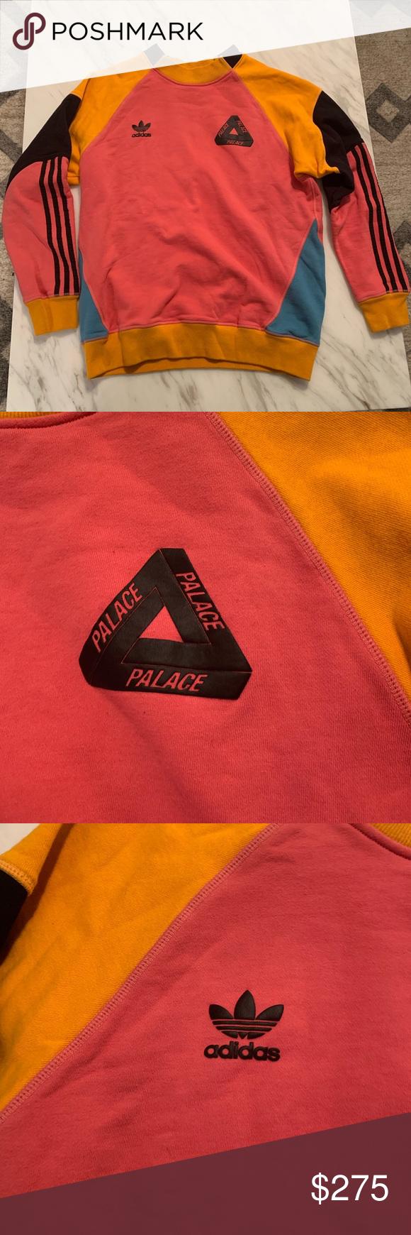 Men S Adidas X Palace Crew Neck Sweater Crew Neck Sweater Colorful Sweatshirt Crew Neck Sweatshirt [ 1740 x 580 Pixel ]