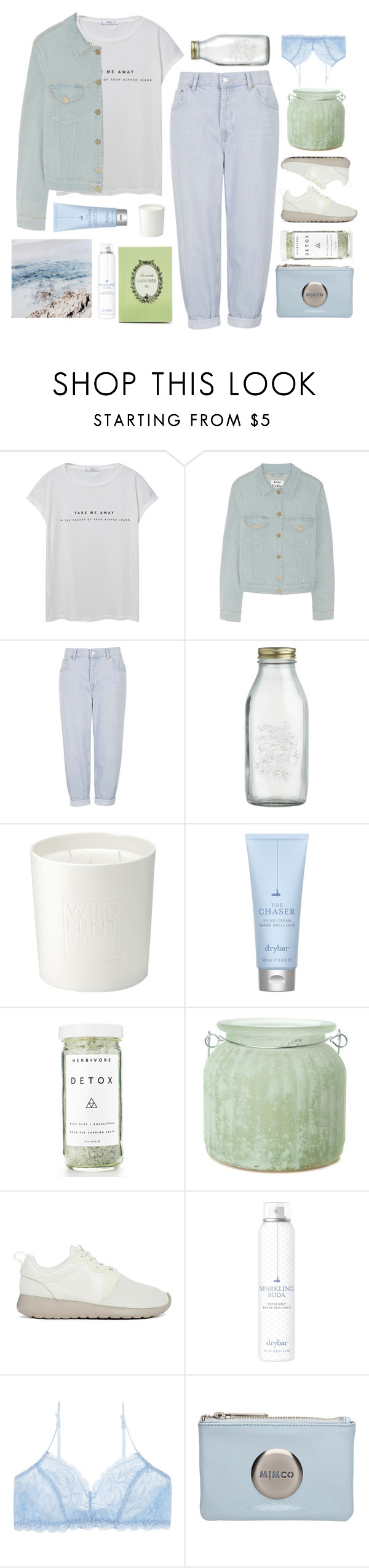 """Untitled #2567"" by tacoxcat ❤ liked on Polyvore featuring MANGO, Acne Studios, Topshop, Crate and Barrel, The White Company, Drybar, Herbivore, Ladurée, The Amazing Flameless Candle and NIKE"